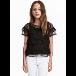 H&M girls black lace sheer blouse